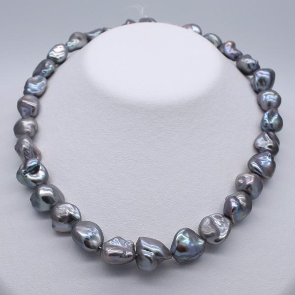 淡水パール ケシ バロック 本真珠 パーツ 素材 ビーズ シルバーグレー系 11~15mm 1粒 yusa-jewelry 03