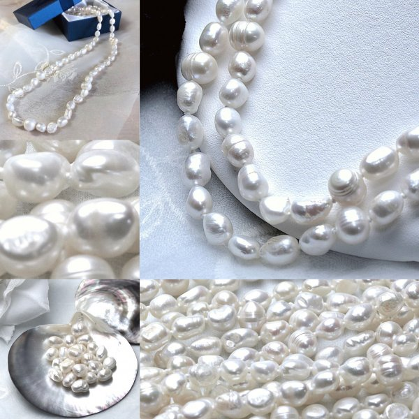 淡水パール バロック パーツ 素材 ビーズ 真珠 ホワイト 1粒 7~10mm|yusa-jewelry