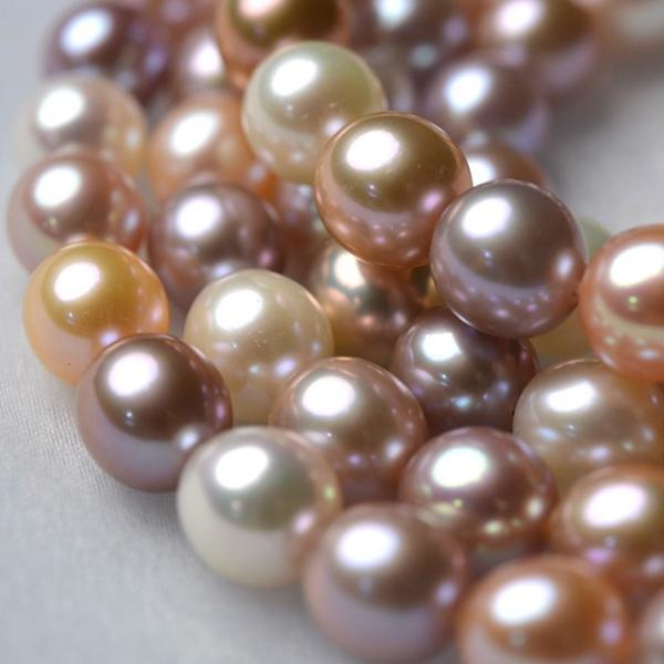 淡水パール セミラウンド パーツ 素材 ビーズ 真珠 マルチカラー 10粒 8mm|yusa-jewelry