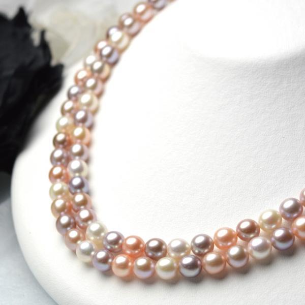 淡水パール セミラウンド パーツ 素材 ビーズ 真珠 マルチカラー 10粒 8mm|yusa-jewelry|02