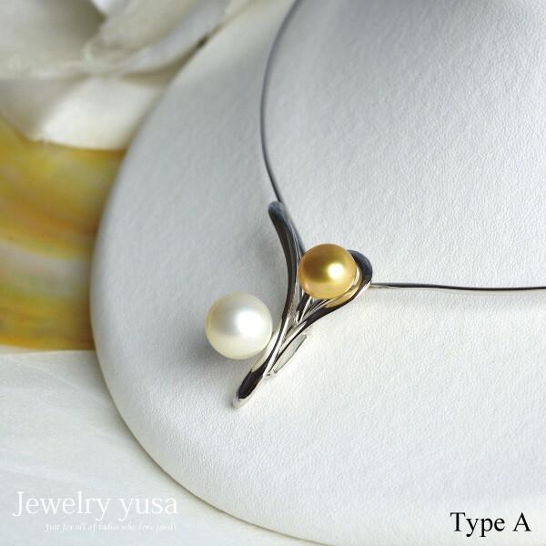 白蝶ゴールデン真珠&白蝶真珠オメガネックレスA フロントホックタイプ デザイン パール ゴールド真珠 シルバー 白 金 ギフト 2種類 選べる 送料無料|yusa-jewelry