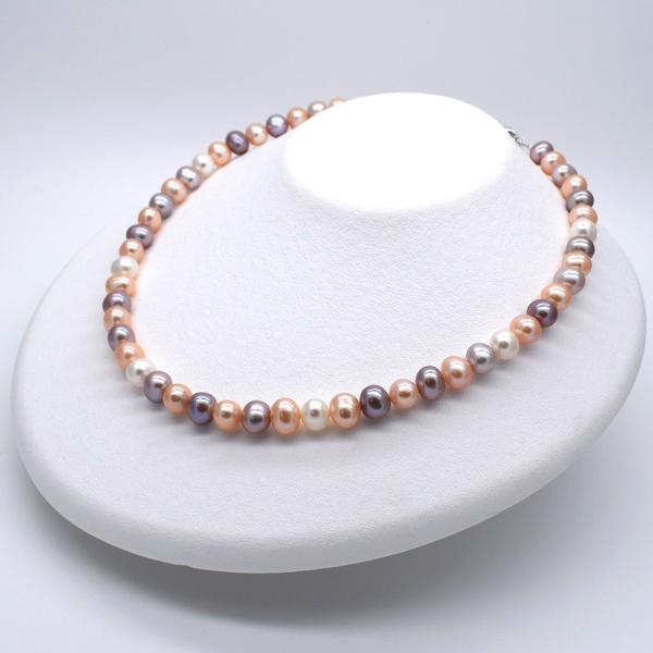 淡水パールネックレス 本真珠 ナチュラル マルチカラー アジャスター付 送料無料 yusa-jewelry 10