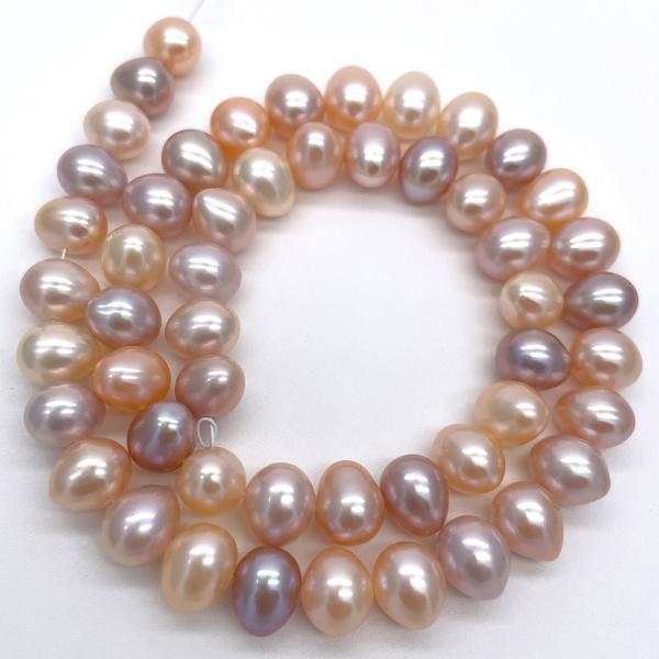 淡水パール 連 ポテト 中粒 40cm パーツ 素材 真珠 マルチカラー|yusa-jewelry