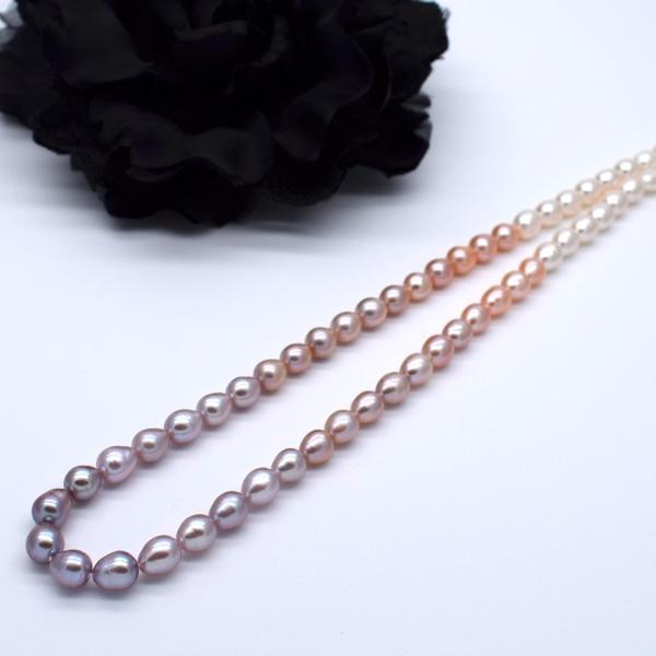 淡水パール 連 ライス 中粒 本真珠 グラデーションマルチカラー ナチュラルカラー 素材 送料無料 ポイント消化 yusa-jewelry