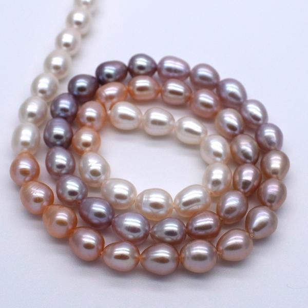 淡水パール 連 ライス 中粒 本真珠 グラデーションマルチカラー ナチュラルカラー 素材 送料無料 ポイント消化 yusa-jewelry 02