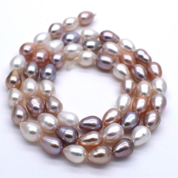 淡水パール 連 ライス 中粒 本真珠 5mm 6mm 7mm 40cm マルチカラー ナチュラルカラー 素材 送料無料 ポイント消化|yusa-jewelry