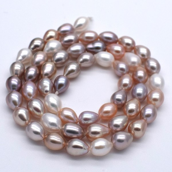 淡水パール 連 ライス 中粒 本真珠 5mm 6mm 7mm 40cm マルチカラー ナチュラルカラー 素材 送料無料 ポイント消化|yusa-jewelry|02