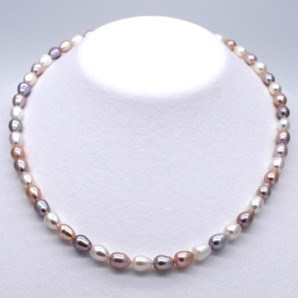 淡水パール 連 ライス 中粒 本真珠 5mm 6mm 7mm 40cm マルチカラー ナチュラルカラー 素材 送料無料 ポイント消化|yusa-jewelry|04