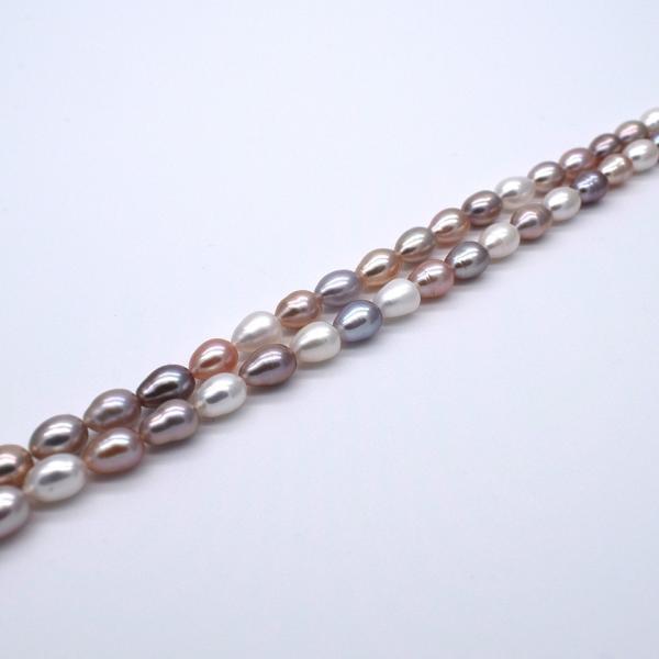 淡水パール 連 ライス 中粒 本真珠 5mm 6mm 7mm 40cm マルチカラー ナチュラルカラー 素材 送料無料 ポイント消化|yusa-jewelry|05