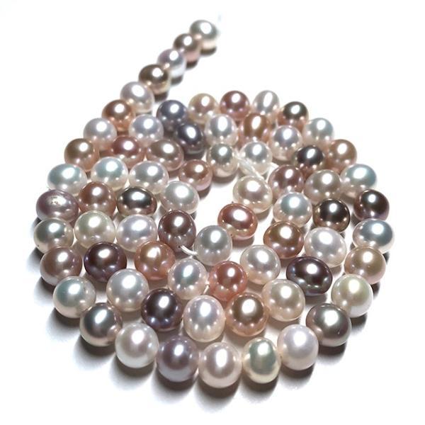 淡水パール 連 ポテト 小粒 40cm パーツ 素材 真珠 マルチカラー セミラウンド系 yusa-jewelry