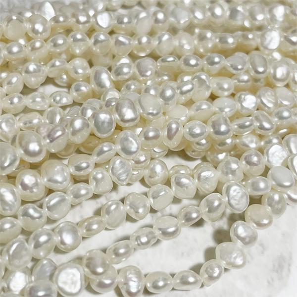 淡水パール バロック ボタン 小粒 ベビー パーツ 素材 真珠 ホワイト系 1粒 4~5mm|yusa-jewelry|02