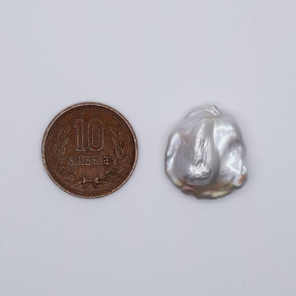 希少 大粒 オーロラ 花びら ケシパール 1粒  15~19mm 淡水真珠 シルバーホワイト系 クレオ穴 バロック yusa-jewelry 05