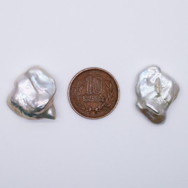 希少 大粒 オーロラ 花びら ケシパール 1粒  20~26mm 淡水真珠 シルバーホワイト系 クレオ穴 バロック|yusa-jewelry|05