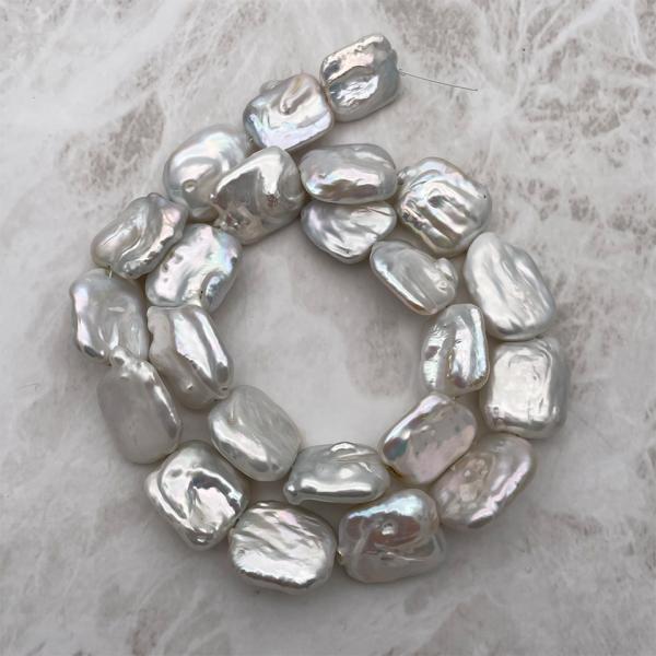 超大粒 淡水パール 連40cm 訳あり レクタングル 長方形 シルバーホワイト系 23~28mm ハンドメイド素材 パーツ|yusa-jewelry