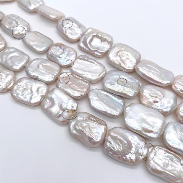 超大粒 淡水パール 連40cm 訳あり レクタングル 長方形 シルバーホワイト系 23~28mm ハンドメイド素材 パーツ|yusa-jewelry|02