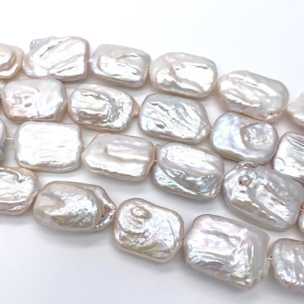 超大粒 淡水パール 連40cm 訳あり レクタングル 長方形 シルバーホワイト系 23~28mm ハンドメイド素材 パーツ|yusa-jewelry|03