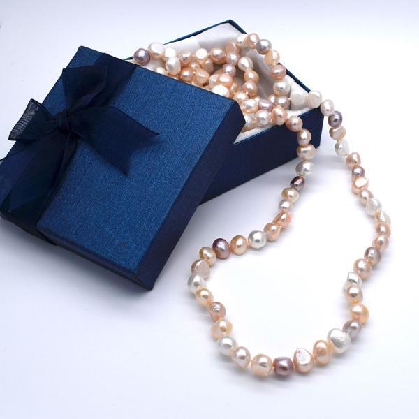 120cm 淡水パール ロングネックレス ナチュラル真珠 マルチカラー バロック 金属アレルギー対応 送料無料|yusa-jewelry
