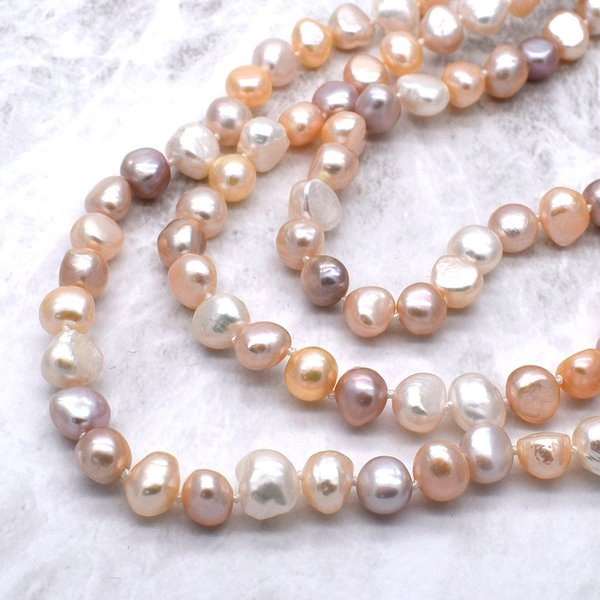 120cm 淡水パール ロングネックレス ナチュラル真珠 マルチカラー バロック 金属アレルギー対応 送料無料|yusa-jewelry|02