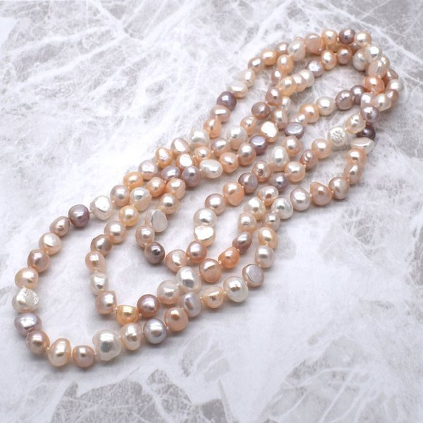 120cm 淡水パール ロングネックレス ナチュラル真珠 マルチカラー バロック 金属アレルギー対応 送料無料|yusa-jewelry|03