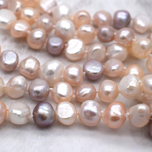 120cm 淡水パール ロングネックレス ナチュラル真珠 マルチカラー バロック 金属アレルギー対応 送料無料|yusa-jewelry|04
