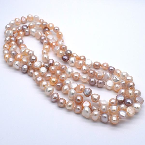 120cm 淡水パール ロングネックレス ナチュラル真珠 マルチカラー バロック 金属アレルギー対応 送料無料|yusa-jewelry|05