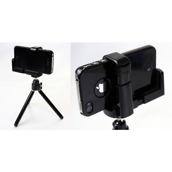 どこでも撮影!スマートフォン用カメラ三脚 iPhone5も対応 ブラック×メタリック S2120W .