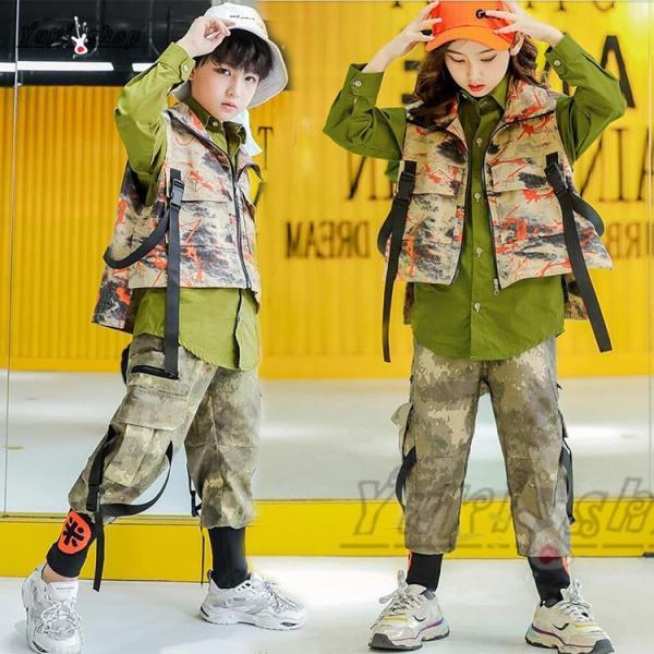 キッズ ダンス衣装 ヒップホップ  迷彩 HIPHOP 長袖 ベスト 迷彩パンツ シャツ ズボン 男の子 女の子 子供服 ステージ衣装 演出服 練習着|yuuki-store
