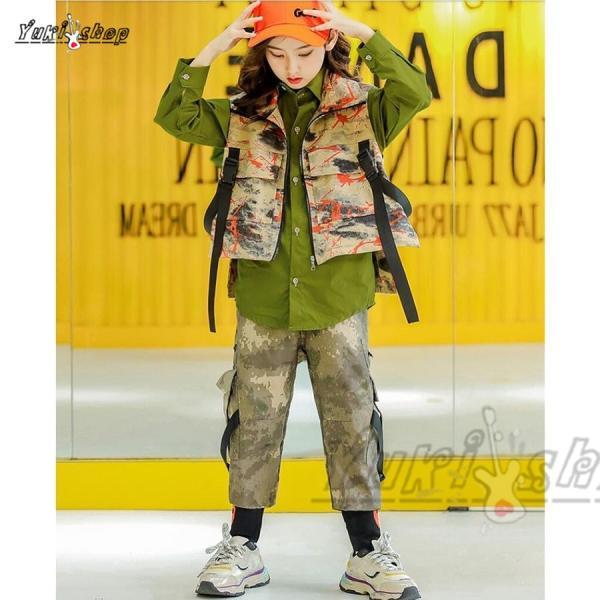 キッズ ダンス衣装 ヒップホップ  迷彩 HIPHOP 長袖 ベスト 迷彩パンツ シャツ ズボン 男の子 女の子 子供服 ステージ衣装 演出服 練習着|yuuki-store|04