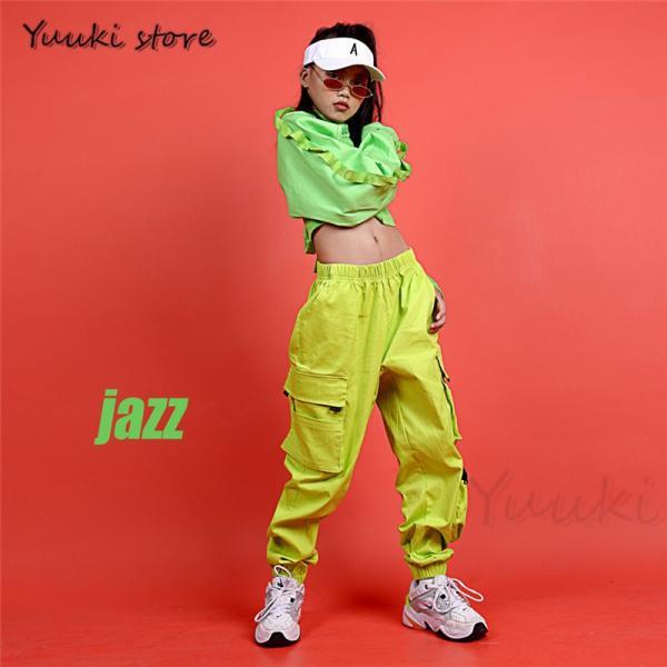 キッズ ダンス衣装 ヒップホップ   HIPHOP ライドグリーン ダンスシャツ パンツ 子供 男の子 女の子 練習着 ジャズダンス yuuki-store 02