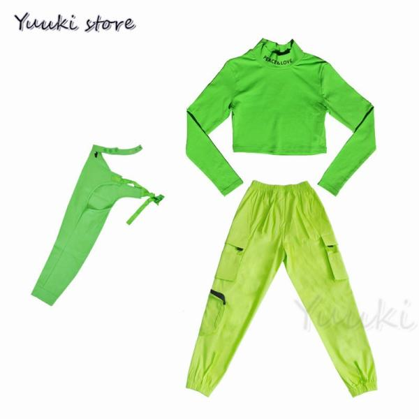 キッズ ダンス衣装 ヒップホップ   HIPHOP ライドグリーン ダンスシャツ パンツ 子供 男の子 女の子 練習着 ジャズダンス yuuki-store 05