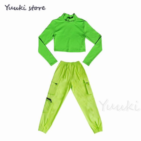 キッズ ダンス衣装 ヒップホップ   HIPHOP ライドグリーン ダンスシャツ パンツ 子供 男の子 女の子 練習着 ジャズダンス yuuki-store 06