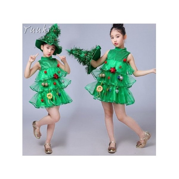 クリスマス コスプレ 子供 女の子 クリスマスツリー コスチューム 衣装 ジュニア キッズ 子ども 緑 帽子 ワンピース 仮装 変装 服 yuuki-store 03