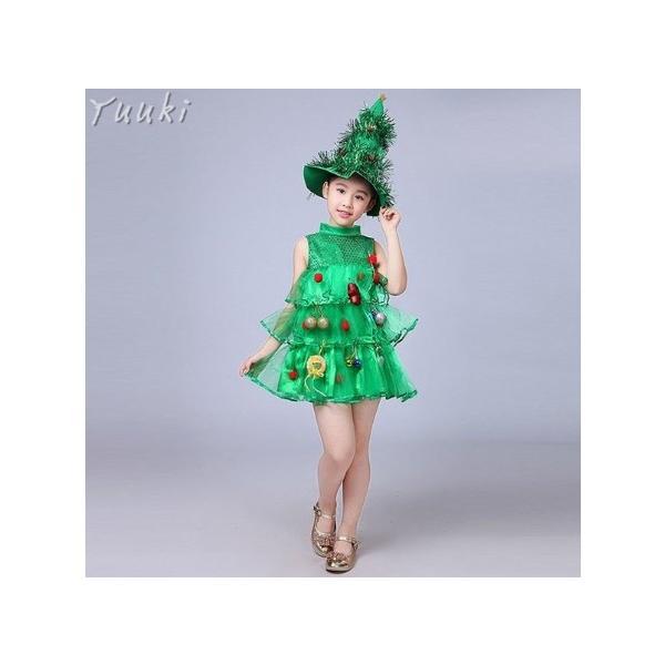 クリスマス コスプレ 子供 女の子 クリスマスツリー コスチューム 衣装 ジュニア キッズ 子ども 緑 帽子 ワンピース 仮装 変装 服 yuuki-store 04