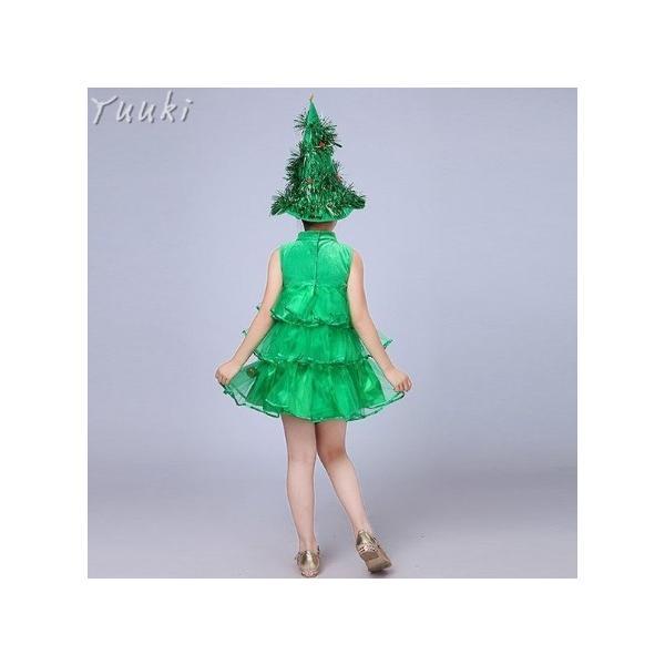 クリスマス コスプレ 子供 女の子 クリスマスツリー コスチューム 衣装 ジュニア キッズ 子ども 緑 帽子 ワンピース 仮装 変装 服 yuuki-store 05