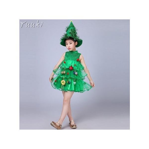 クリスマス コスプレ 子供 女の子 クリスマスツリー コスチューム 衣装 ジュニア キッズ 子ども 緑 帽子 ワンピース 仮装 変装 服 yuuki-store 06