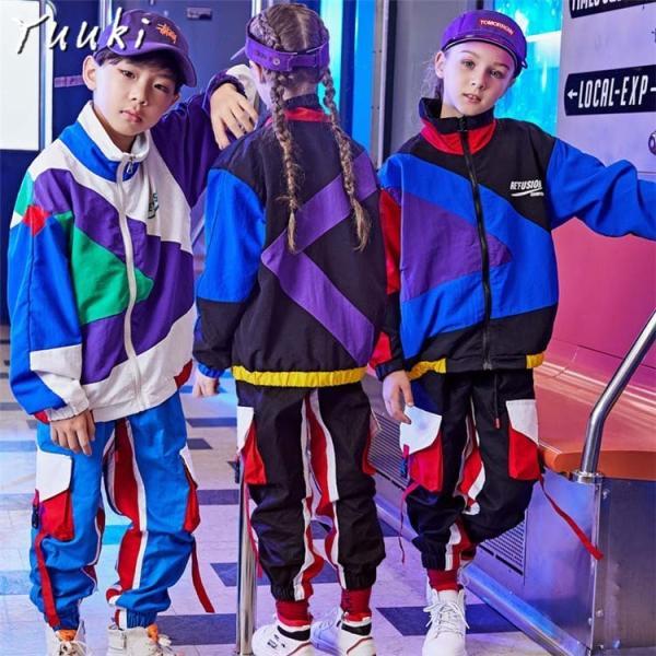 67745a38663eb キッズ ダンス衣装 ヒップホップ HIPHOP 子供 ジャケット パンツ セットアップ 男の子 女の子 ジャズダンス ステージ衣装 ...