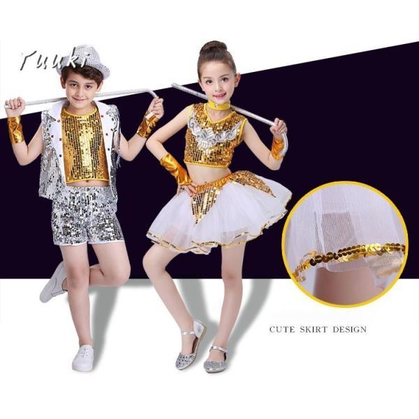 キッズ ダンス 衣装 キラキラ 衣装 こども ダンス スパンコール ダンス服 チュチュスカート チアリーダー 上下セット 子供ダンス衣装|yuuki-store|05
