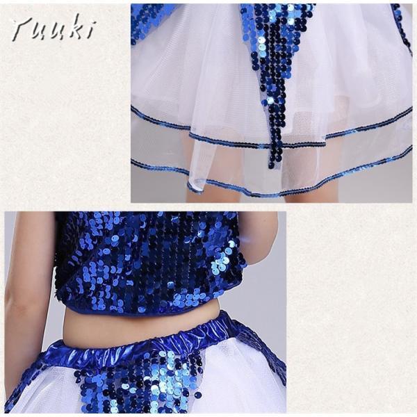 キッズ ダンス 衣装 キラキラ 衣装 こども ダンス スパンコール ダンス服 チュチュスカート チアリーダー 上下セット 子供ダンス衣装|yuuki-store|09