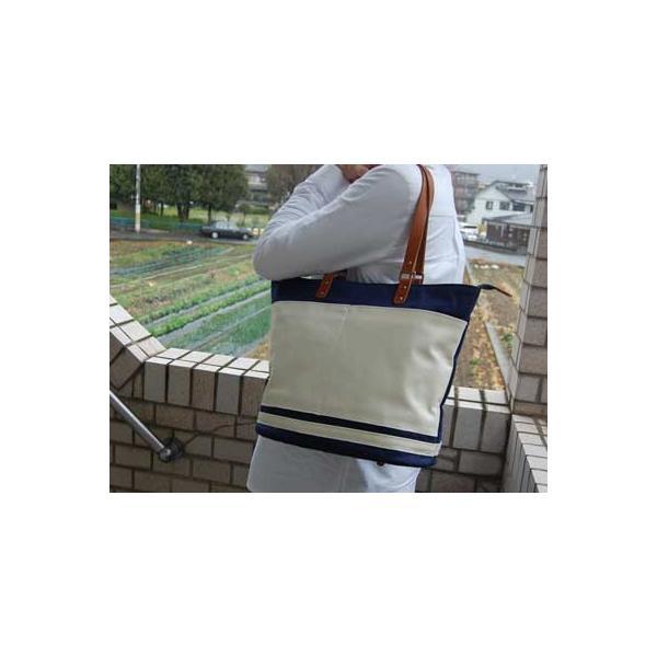 トートバック 35cm 白紺 yuukikyoto