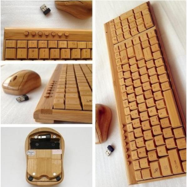 全国送料無料 パソコン PC キーボード 手作りスマート ハイテク天然竹木製 PC ワイヤレス 2.4 GHz キーボードとマウスのコンボ yuuuuuu26