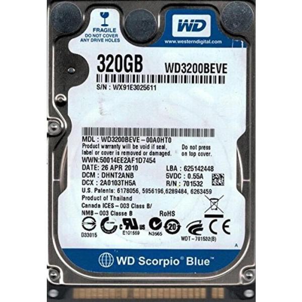 全国送料無料 パソコン ストレージ DANTJHNB 西デジタル WD3200BEVE 00A0HT0 DCM: 320 GB|yuuuuuu26