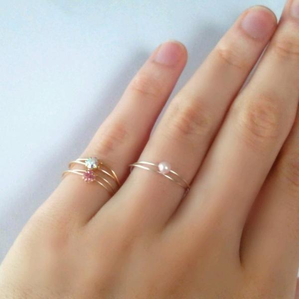 可憐な プリンセス ゴールド ピンキーリング アクセサリー レディース 指輪 2号 3号 アーティスティックワイヤー|yuzuandlalokobo|05