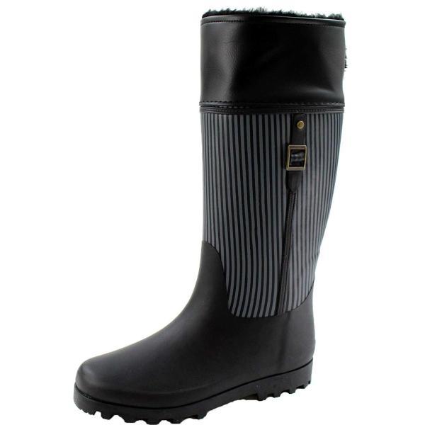 ジュエル BJW26 レディース レインブーツ 長靴 (S22.5-23.0cm, ブラック)
