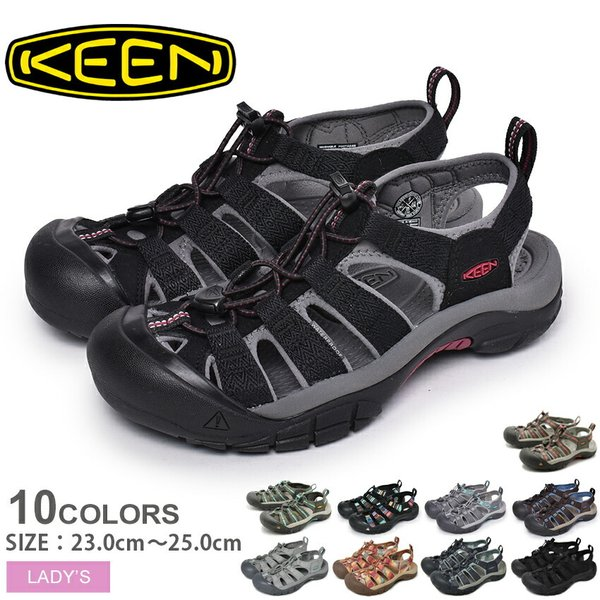 キーンサンダルレディースニューポートH2KEENブラック黒川アウトドアレジャー靴