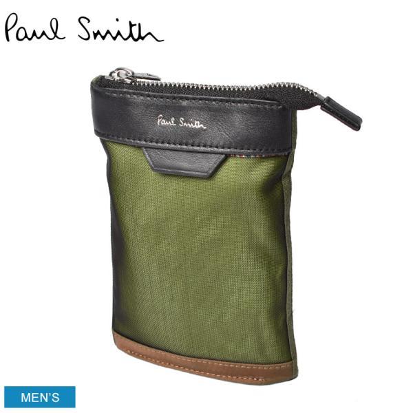 (クーポンで500円OFF) ポールスミス ポーチ メンズ レディース ネックポーチ PAUL SMITH 6281 EMAMIX カーキ 本革 レザー ショルダー 収納 ブランド