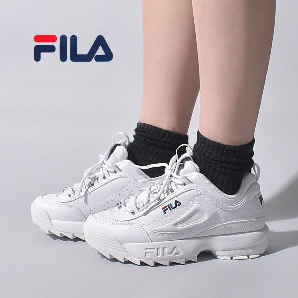 フィラスニーカーレディースディスラプター2プレミアムFILA5FM00002ホワイト白靴シューズ通勤通学ローカット厚底