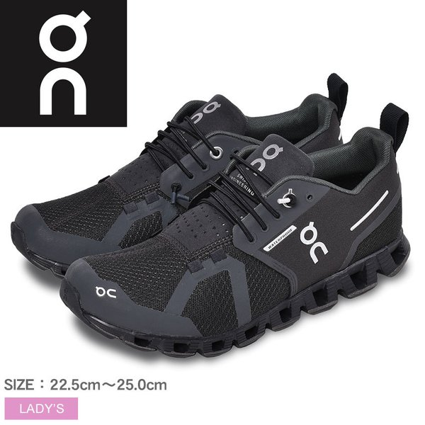 オン ランニングシューズ レディース クラウド ウォータープルーフ ON ブラック 黒 靴 スニーカー 軽量 ジョギング トレーニング 新生活