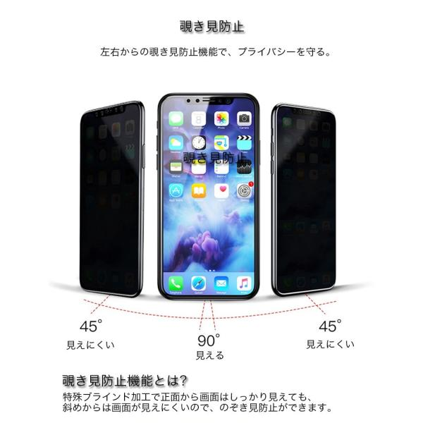 iPhoneX ガラスフィルム 覗き見防止 iPhone X 強化ガラス 耐衝撃 9H アイフォンX 保護フィルム 覗き見防止 3D Touch対応 衝撃吸収 飛散防止 指紋防止|zacca-15|05