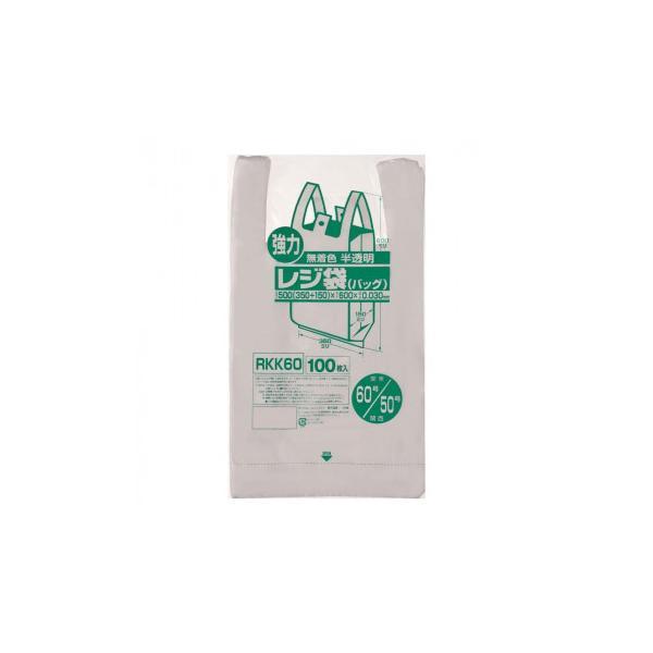 ジャパックス レジ袋 関東60号/関西50号 半透明 100枚×10冊 RKK60   代引き・同梱不可【COMシリーズ】