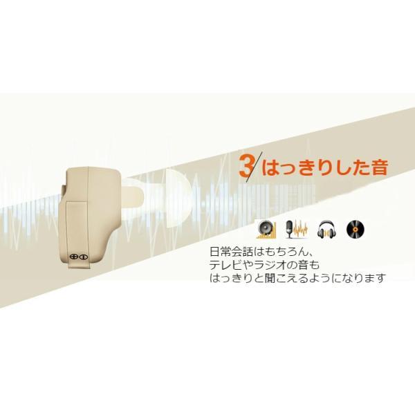 聴力プラス+ 小型 集音器 2個セット 拡聴器 イヤホン 軽量 耳穴式 電池式 左右両耳兼用 イヤーピース6付き 雑音抑え 補聴器型|zakka-gs|04